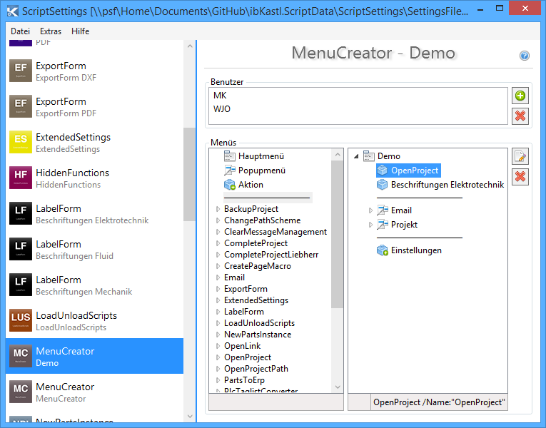 Menucreator suplanus for Eplan login